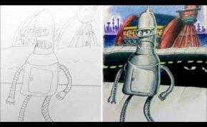 Zseniális: Gyerekei rajzait színezte ki a tetoválóművész apuka