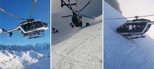Bravúros helikopteres mentést filmeztek az Alpokban