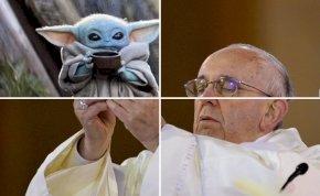 Egy új mém formátum hódít a neten: Ferenc pápa a magasba emeli bébi Yodát